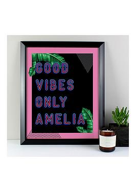 Very Personalised Good Vibes Only Framed Print Picture