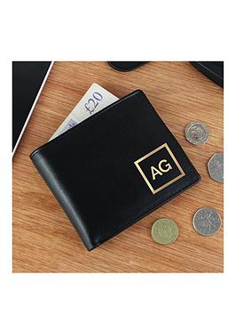 Very  Personalised Gold Initals Black Leather Wallet