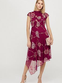 Monsoon Monsoon Annelisse Recycled Polyester Embroidered Dress - Berry Picture