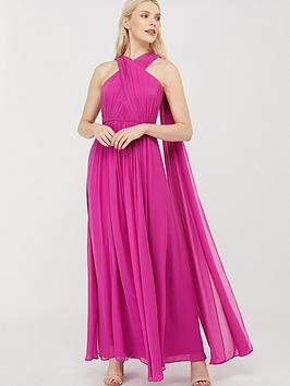 Monsoon Monsoon Maura Cross Neck Cape Maxi Dress - Pink Picture