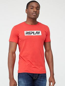Replay Replay Block Logo Short Sleeve T-Shirt &Ndash; Red Picture