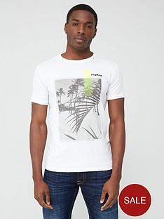 replay-beach-print-short-sleeve-t-shirt-ndash-white