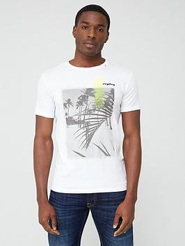 Replay Replay Beach Print Short Sleeve T-Shirt &Ndash; White Picture