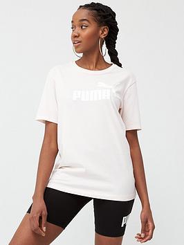 Puma Puma Ess+ Logo Boyfriend T-Shirt  - Pink Picture