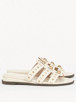 Evans Evans Extra Wide Fit Studded Sliders - Ivory Picture