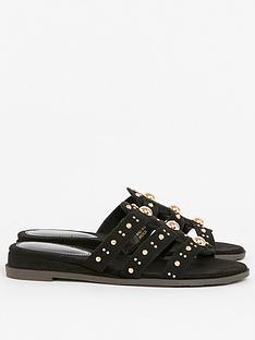 evans-extra-wide-fit-studded-sliders-black