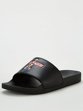 Levi's Levi'S Supermario Slides - Black Picture