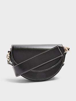 Topshop Topshop Topshop Wide Strap Topstitch Saddle Bag - Black Picture