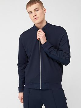 River Island River Island Textured Slim Fit Bomber Jacket - Navy Picture