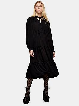 Topshop Topshop Tiered Chuck On Midi Dress - Black Picture