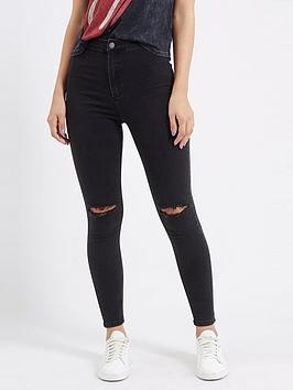 Topshop Topshop Ripped Joni Jeans - Washed Black Picture