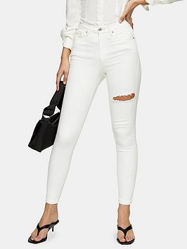 Topshop Topshop Thigh Rip Jamie Jeans - White Picture