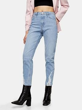 Topshop Topshop Topshop Dundee Hem Straight Jeans - Bleached Blue Picture