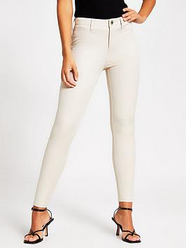 River Island River Island Molly Mid Rise Skinny Trousers - Cream Picture