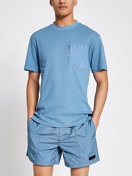 River Island River Island Nylon Panel Badge T-Shirt - Blue Picture