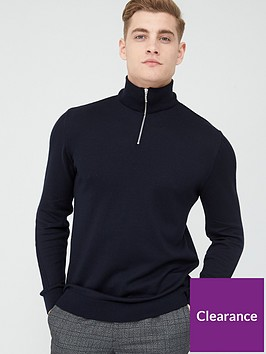 river-island-half-zip-slim-fit-knitted-jumper-navynbsp
