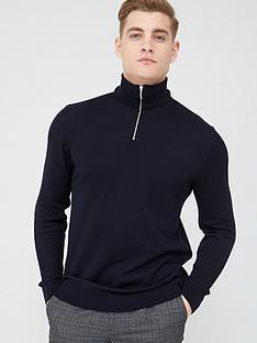 river-island-navy-half-zip-slim-fit-knitted-jumper