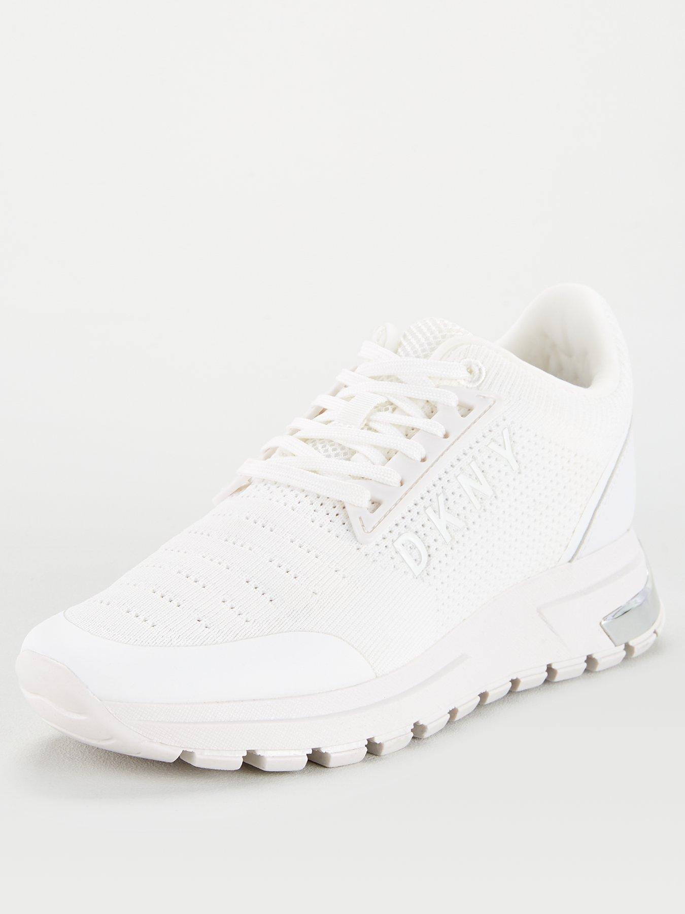 DKNY Melz Knit Logo Trainers - White