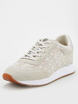 DKNY Dkny Arlie All Over Logo Trainers - Cream Picture
