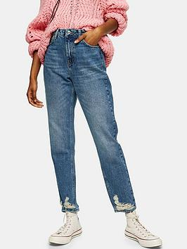 Topshop Topshop Ripped Hem Ibiza Pocket Mom Jeans - Blue Picture
