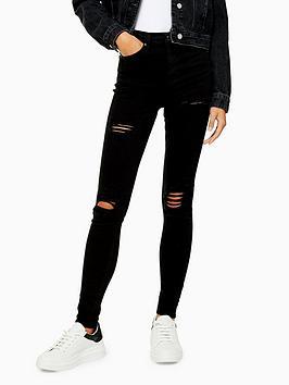 Topshop Topshop Topshop Super Ripped Jamie Jeans - Black Picture