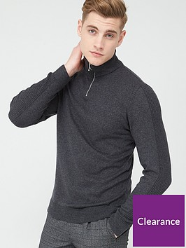 river-island-half-zip-slim-fit-knitted-jumper-greynbsp