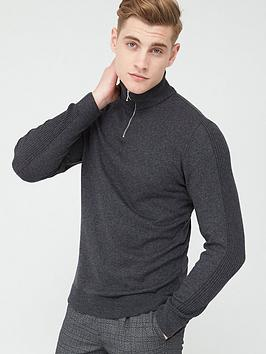 River Island River Island Half Zip Slim Fit Knitted Jumper - Grey Picture