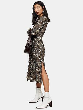 Topshop Topshop Petite Paisley Ruffle Midi Shirt Dress - Multi Picture