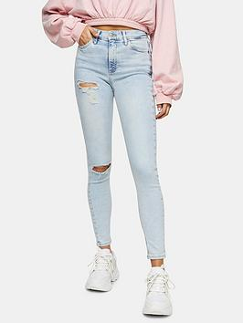Topshop Topshop Brooklyn Rip Jamie Jeans - Bleached Blue Picture