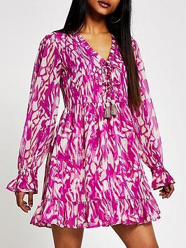 RI Petite Ri Petite Printed Mini Smock Dress - Pink Picture