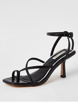 River Island River Island Mid Heel Strappy Sandals - Black Picture