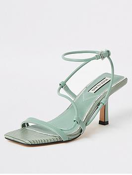 River Island River Island Mid Heel Strappy Sandals - Sage Green Picture