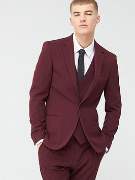 River Island River Island Stretch Skinny Suit Jacket - Dark Red Picture