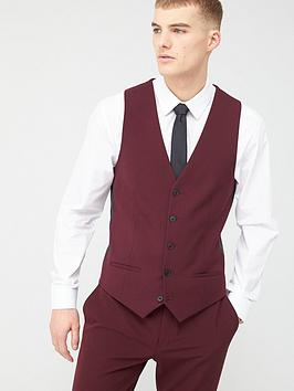 River Island River Island Dark Red Slim Fit Suit Waistcoat Picture