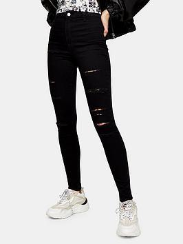 Topshop Topshop Super Ripped Joni Jeans - Black Picture