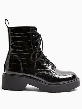 Topshop Topshop Topshop Kacy Lace Up Patent Croc Boots - Black Picture