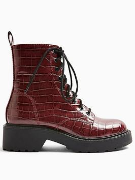 Topshop Topshop Kacy Lace Up Boots - Burgundy Picture