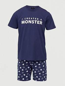V by Very V By Very Father'S Day Monster Mini Me Pyjamas - Navy Picture