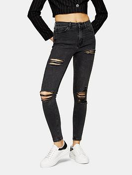 Topshop Topshop Super Ripped Jamie Jeans - Washed Black Picture