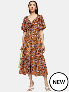 topshop-topshop-floral-frill-v-neck-midi-dress-orange