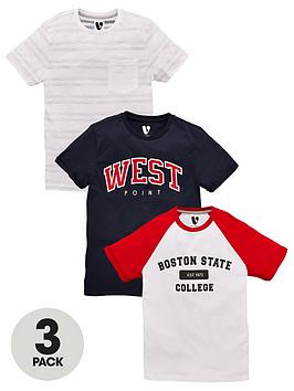 V by Very V By Very Boys Boston Collegiate 3 Pack Short Sleeve T-Shirts -  ... Picture