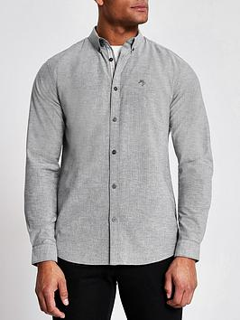 River Island River Island Long Sleeve Slim Fit Oxford Shirt - Grey Picture