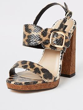 River Island River Island Wide Fit Animal Print Cork Heel Platform Sandals  ... Picture