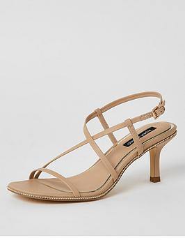 River Island River Island Strappy Beaded Edge Low Heel Sandal - Beige Picture