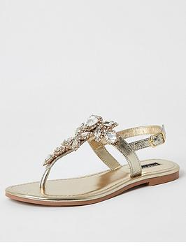 River Island River Island Embellished Leather Thong Sandals - Gold Picture