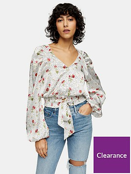 topshop-printed-satin-tie-front-blouse-cream