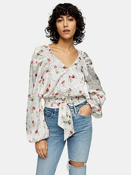 Topshop Topshop Printed Satin Tie Front Blouse - Cream Picture
