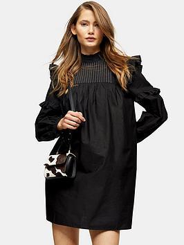 Topshop Topshop Pintuck Topstitch Mini Dress - Black Picture