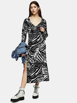 Topshop Topshop Topshop Zebra Ruch Sleeve Midi Dress - Mono Picture