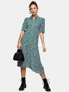 topshop-floral-ditsy-print-zip-front-midi-dress-green